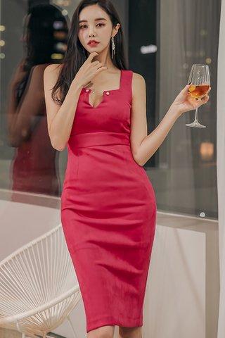 BACKORDER - Stella V-Neck Back Slit Dress In Rose Pink