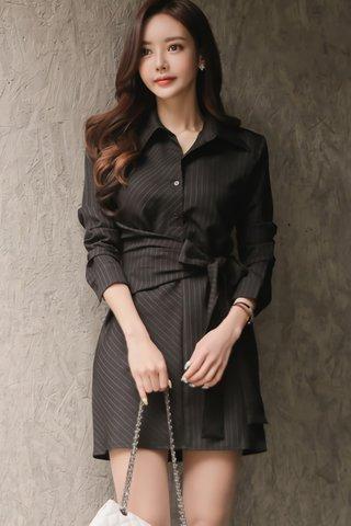 BACKORDER - Vannett Pinstripe Ribbon Tie Shirt Dress