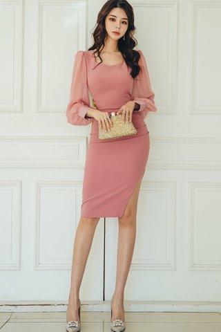 BACKORDER - Zoena Mesh Sleeve Side Slit Dress