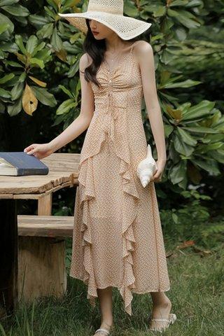 BACKORDER - Alaine Ruched Cascade Ruffle Dress