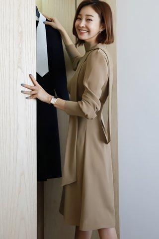 BACKORDER - Annjay V-Neck Sleeve Dress In Khaki