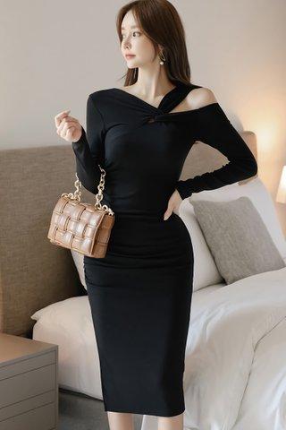 BACKORDER - Bernise Cold Shoulder Sleeve Dress In Black