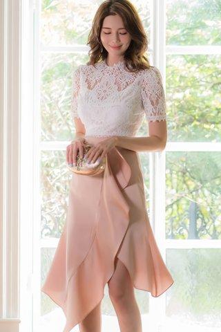 INSTOCK - Berry Crochet Top With Cascade Ruffle Skirt Set