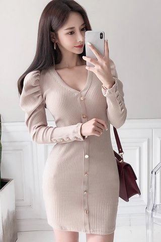 BACKORDER - Celestine Single Breasted Knit Dress In Beige