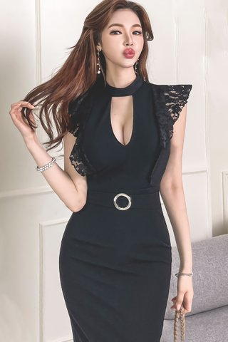 BACKORDER - Dawne Keyhole Lace Sleeve Dress