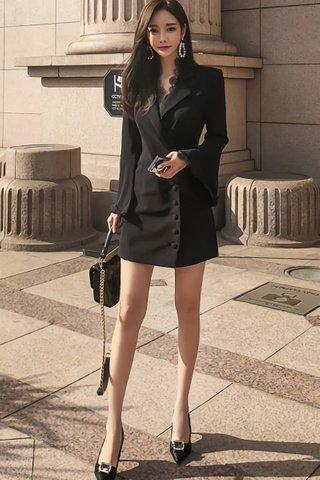 BACKORDER - Earmel V-Neck Sleeve Coat Dress In Black