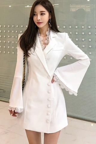 BACKORDER - Earmel V-Neck Sleeve Coat Dress In White