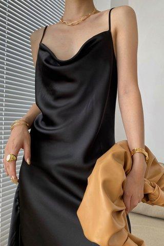 BACKORDER - Farina Cowl Neck Side Button Dress In Black