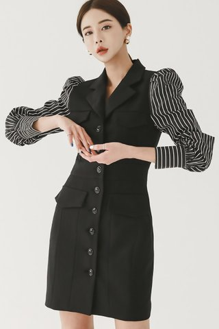 BACKORDER - Flonesa Single Breasted Stripe Sleeve Dress