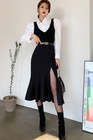 BACKORDER - Hermelia Shirt With V-Neck Slit Dress Set