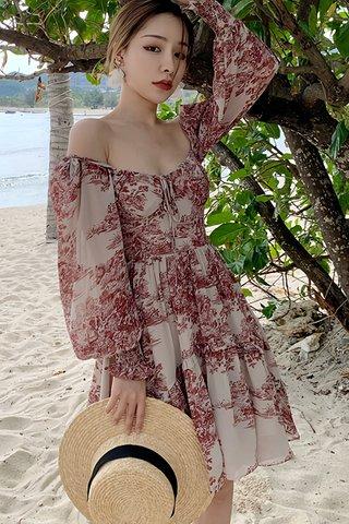 BACKORDER - Jacmille Puff Sleeve Ruffle Hem Dress
