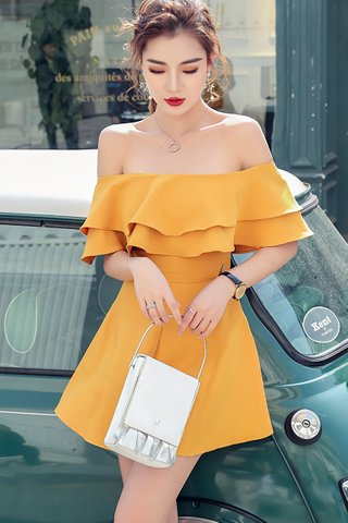 BACKORDER - Jacqueline Ruffle Cold Shoulder Romper In Yellow