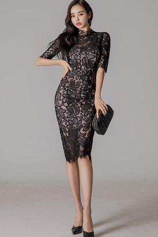 BACKORDER - Jansica Floral Lace Dress In Black