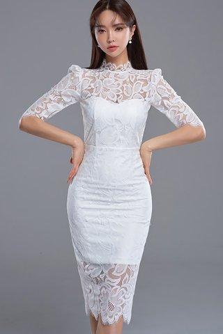 BACKORDER - Jansica Floral Lace Dress In White