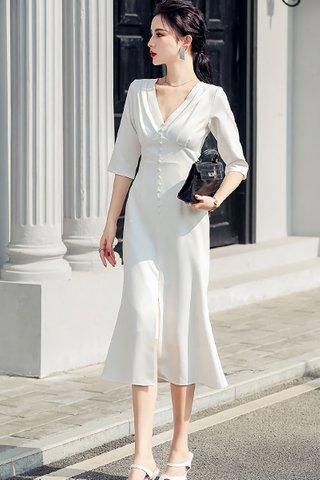 BACKORDER - Jenovia V-Neck Single Breasted Dress