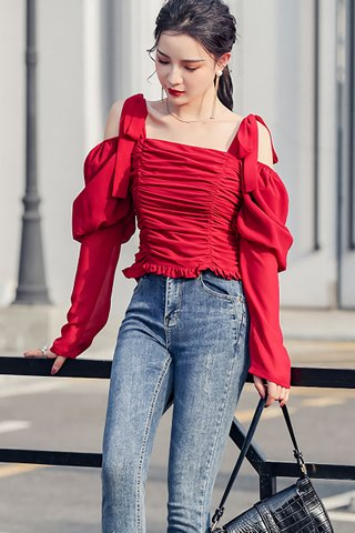 BACKORDER - Jorshah Ruched Pull Sleeve Top In Red