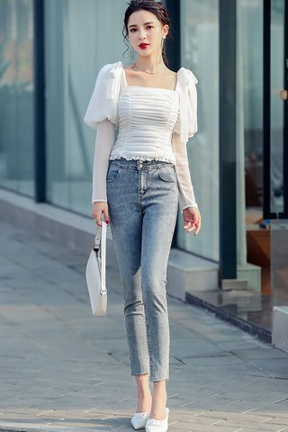 BACKORDER - Jorshah Ruched Pull Sleeve Top In White