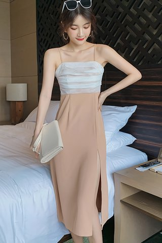 BACKORDER - Kattie Mesh Side Slit Camisole Dress In Khaki
