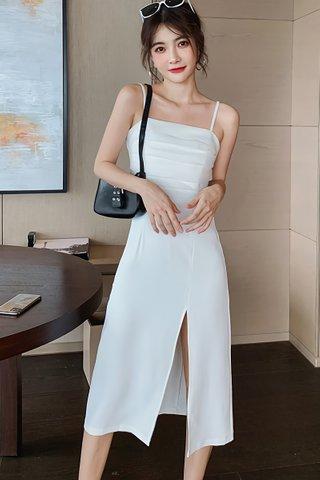BACKORDER - Kattie Mesh Side Slit Camisole Dress In White
