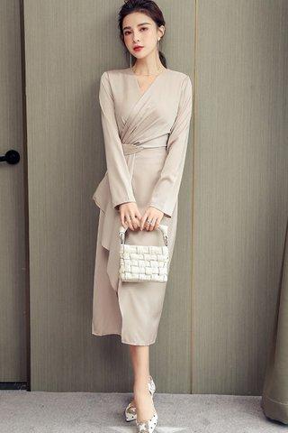 BACKORDER - Khris V-Neck Foldover Asymmetrical Dress In Cream