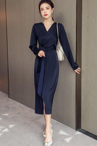 BACKORDER - Khris V-Neck Foldover Asymmetrical Dress In Navy Blue