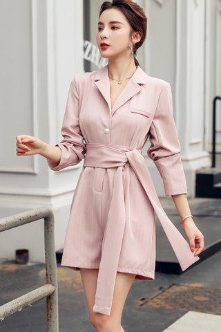 BACKORDER - Maelia Pinstripe Ribbon Tie Romper In Pink
