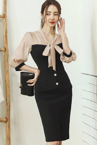 BACKORDER - Melgen Ribbon Tie Single Breasted Dress