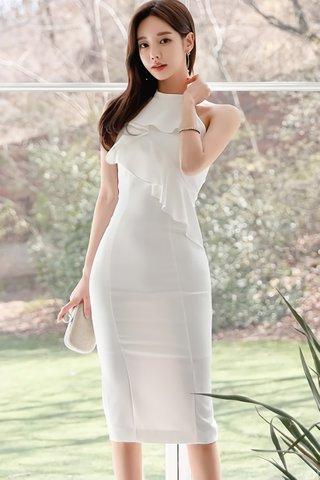 BACKORDER - Merie Cascade Ruffle Dress In White