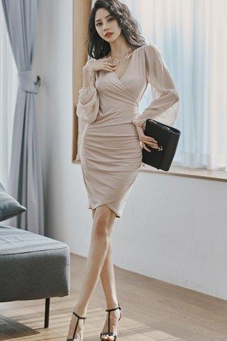 BACKORDER - Ronina Mesh Sleeve Ruched Dress