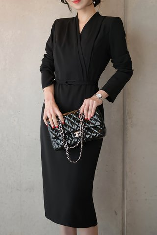BACKORDER - Rosemary Cascade Overlay Dress In Black