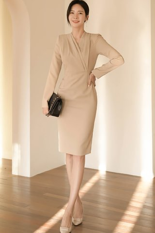 BACKORDER - Rosemary Cascade Overlay Dress In Khaki