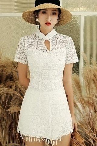 BACKORDER - Roshan Keyhole Lace Dress With Short Set In Black & White