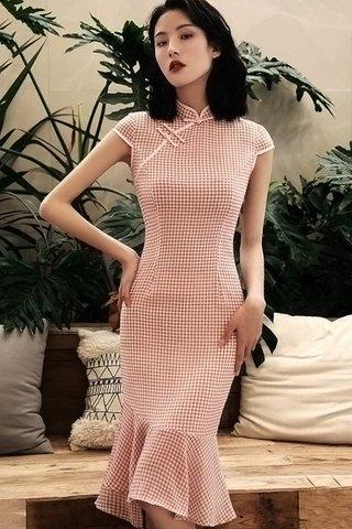 BACKORDER - Zanne Gingham Ruffle Hem Cheongsam In Pink