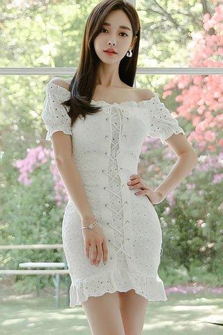 BACKORDER - Aterina Off Shoulder Eyelet Dress