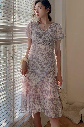 BACKORDER - Berine Floral Puff Sleeve Knot Dress
