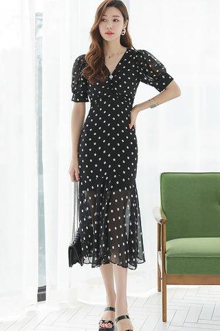 BACKORDER - Foelle V-Neck Polka Dot Mesh Dress