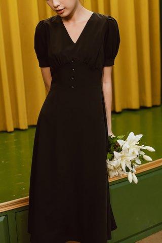 BACKORDER - Edwina V-Neck Puff Sleeve Dress In Black