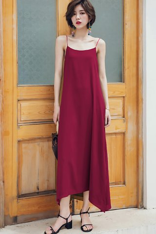BACKORDER - Melrita Mini Knot Camisole Dress In Wine Red