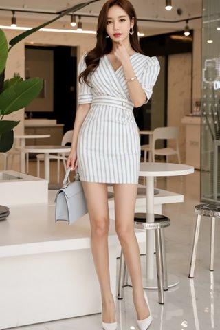 BACKORDER - Santhea V-Neck Stripe Mini Dress