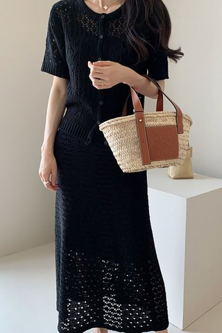 BACKORDER - Astria Knit Top With Skirt Set In Black