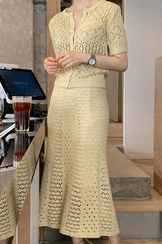 BACKORDER - Astria Knit Top With Skirt Set In Pale Yellow