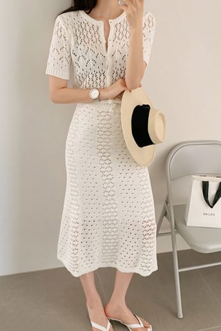 BACKORDER - Astria Knit Top With Skirt Set In White