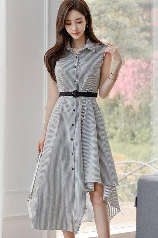 BACKORDER - Jaynice Pinstripe Asymmetrical Dress
