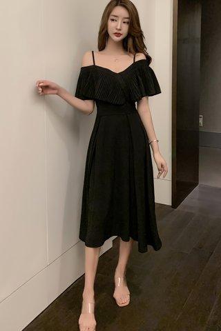 BACKORDER - Kandra Cold Shoulder Pleat Midi A-Line Dress In Black