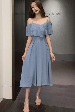 BACKORDER - Kandra Cold Shoulder Pleat Midi A-Line Dress In Pastel Blue