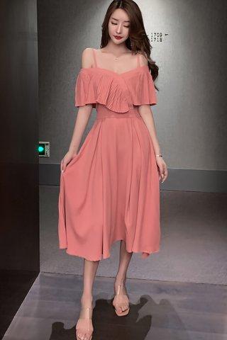 BACKORDER - Kandra Cold Shoulder Pleat Midi A-Line Dress In Pastel Pink