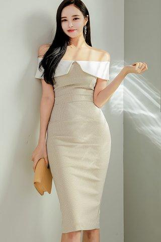 BACKORDER - Pamse Off Shoulder Plaid Dress