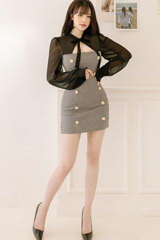 BACKORDER - Shanya Double Breasted Plaid Shoulder Mesh Dress