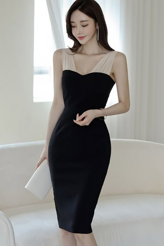 BACKORDER - Suzen Mesh Shoulder Bodycon Dress