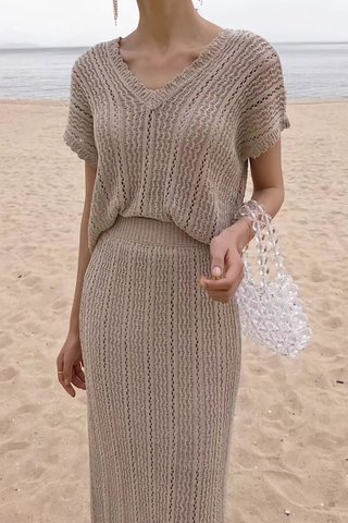 BACKORDER - Trina Knit Top With Skirt Set In Khaki